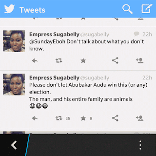 Girl celebrates Audu Abubakar's death on twitter (see harsh tweets)