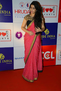 Actress Charmy Kaur Latest Pictures in Pink Saree at CCL Charity Dinner 3