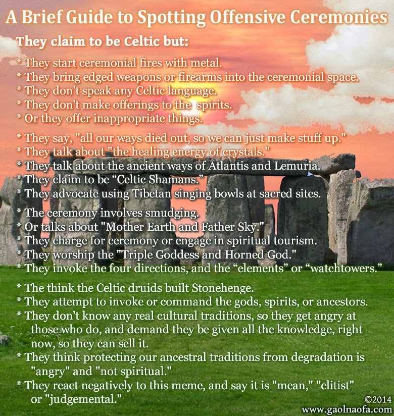 Gaol Naofa - A Brief Guide to Spotting Offensive Celtic Ceremonies