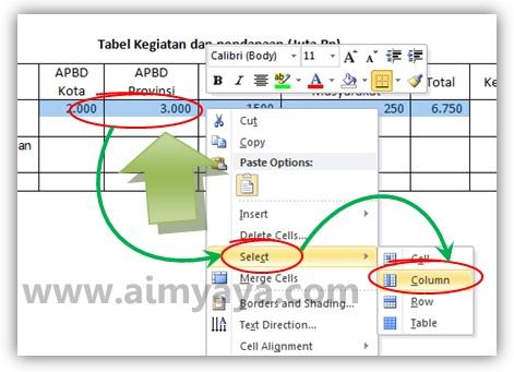 Gambar: Cara membuat ukuran kolom/baris tabel menjadi sama rata/besar di microsoft word 2010