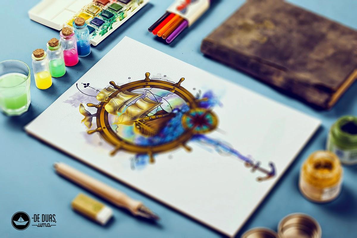 watercolor drawing boat deduasuma