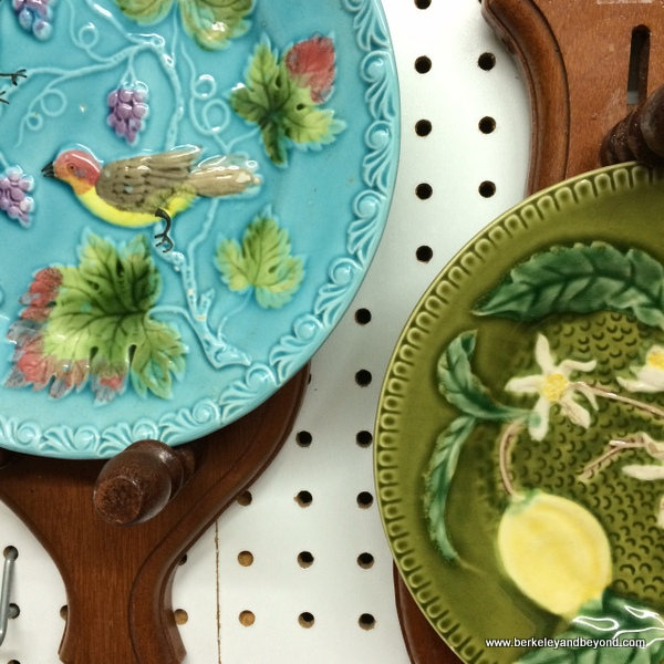 decorative plates in Laurel House Antiques at Marin Art and Garden Center in Ross, California