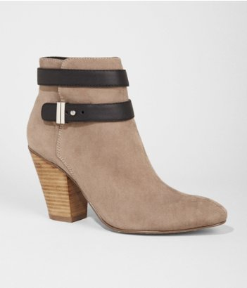 Express taupe ankle strap booties