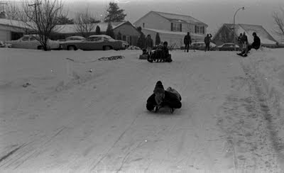 Snow,Snowstorm,Bowie,Maryland,1974,Sleds,Sledding