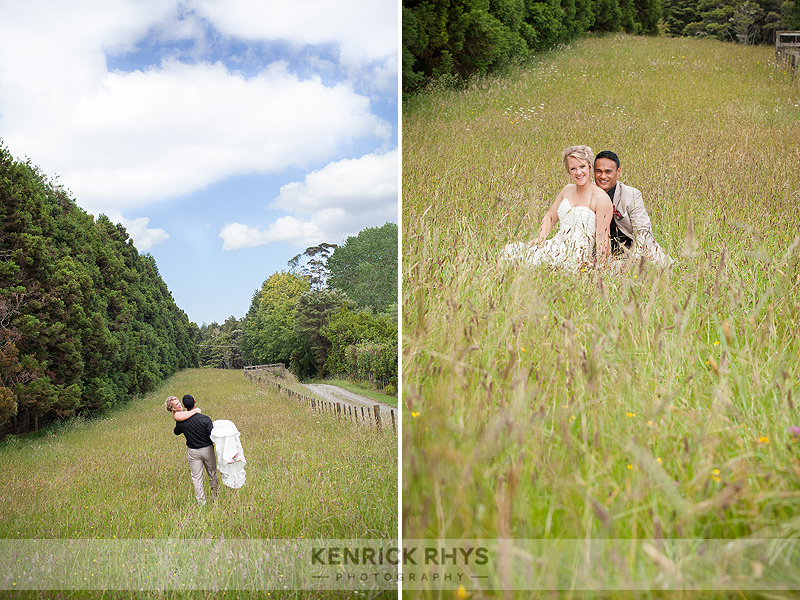 Bride and Groom in feild of Long Grass