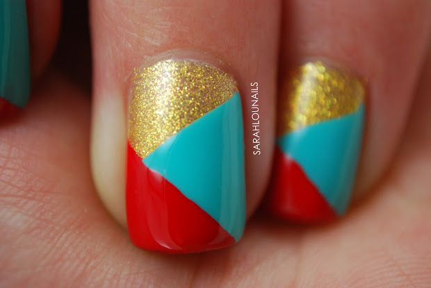 sarah lou nails tri colored tape