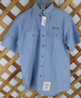 DSCP US Navy Short Sleeve Shirt Mens L Chambray Blue USN Utility Work NWT (2603)