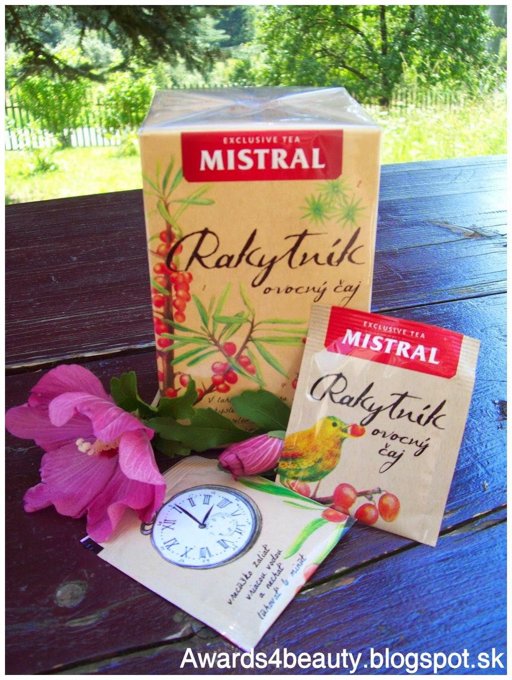 Ovocný čaj Mistral z rakytníka v krásnom obale s kreslenými detailami.