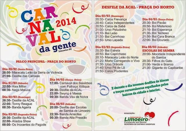 Confira a programação completa do Carnaval 2014 de Limoeiro-PE