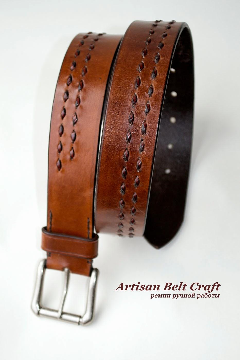 кожаный ремень с брейдингом
