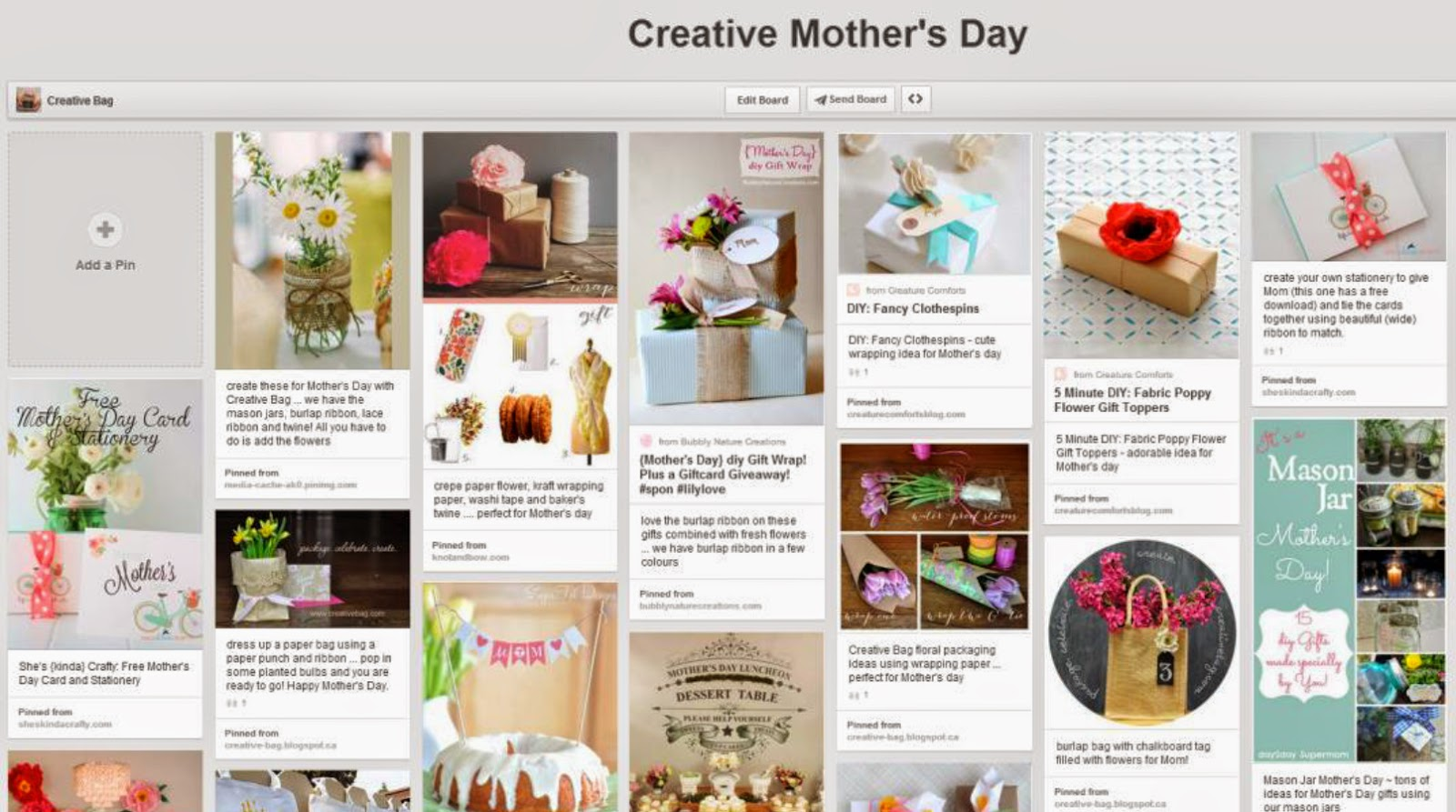 Creative Bag's Creative Mother's Day Pinterest board