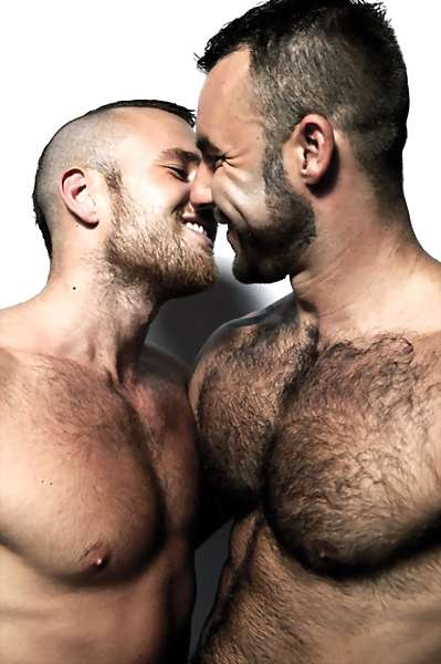 image of 2 men kissing