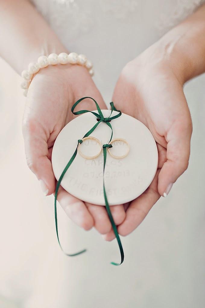 Real wedding ring bearer dish