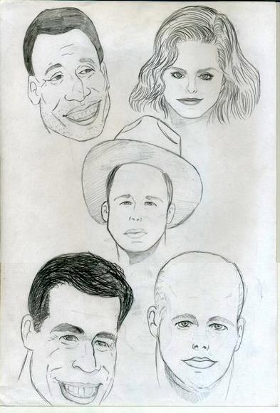 Caricaturas: Pelé, Vera Fischer, Brad Pitt, Rai ex-jogador do São Paulo e Fernando Scherer o Xuxa.