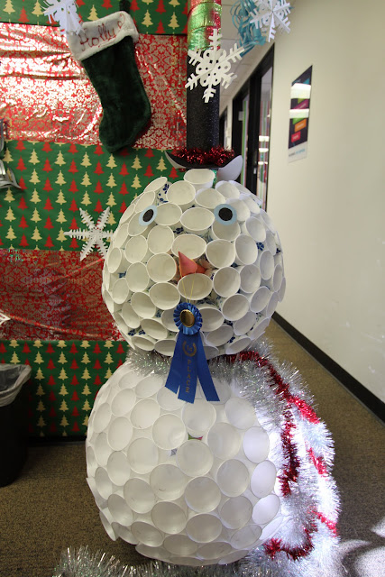 make the most of the materials you have - Christmas Office Decorations