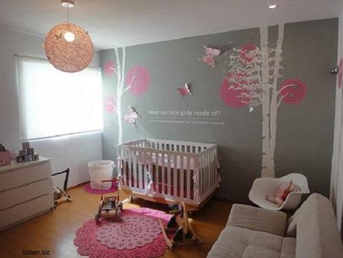 decoration chambre bebe fille gris et rose