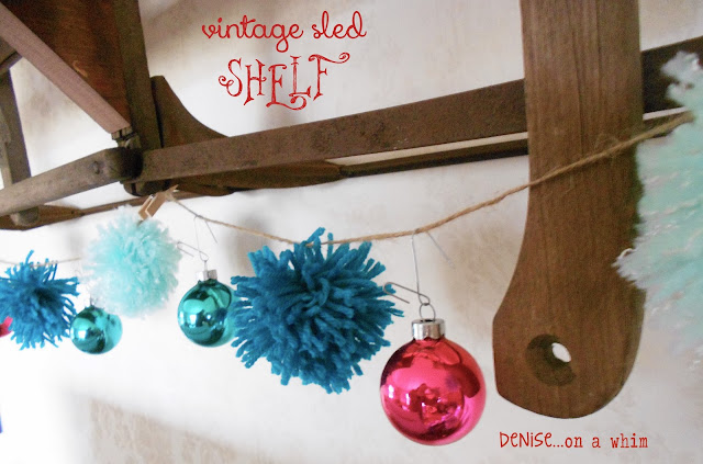 A vintage sled turned shelf via http://deniseonawhim.blogspot.com