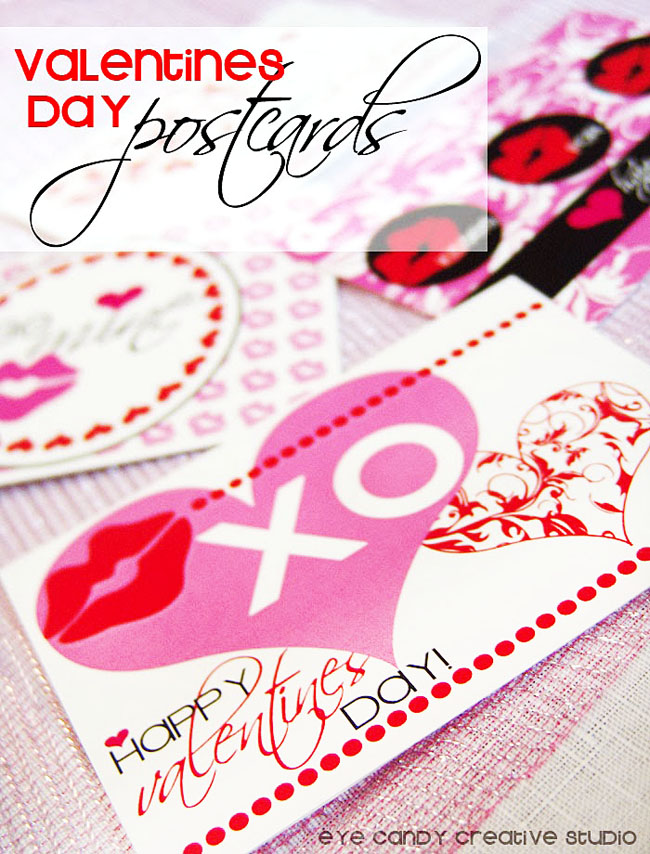 sending valentines postcards, you've got mail, XO, damask hearts
