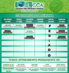 AGENDA ECON DE 16 Á 21 DE JANEIRO