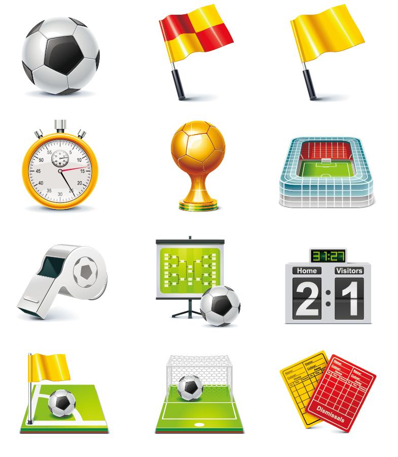 サッカー競技のアイコン Football Match Vector Icon Set イラスト素材