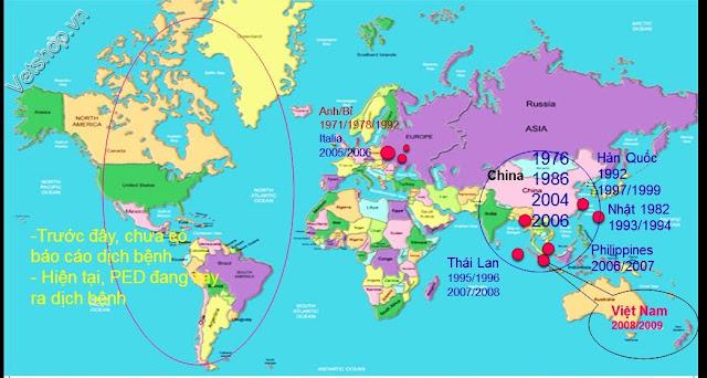 Hình 1: Các ổ dịch PED tại một số quốc gia