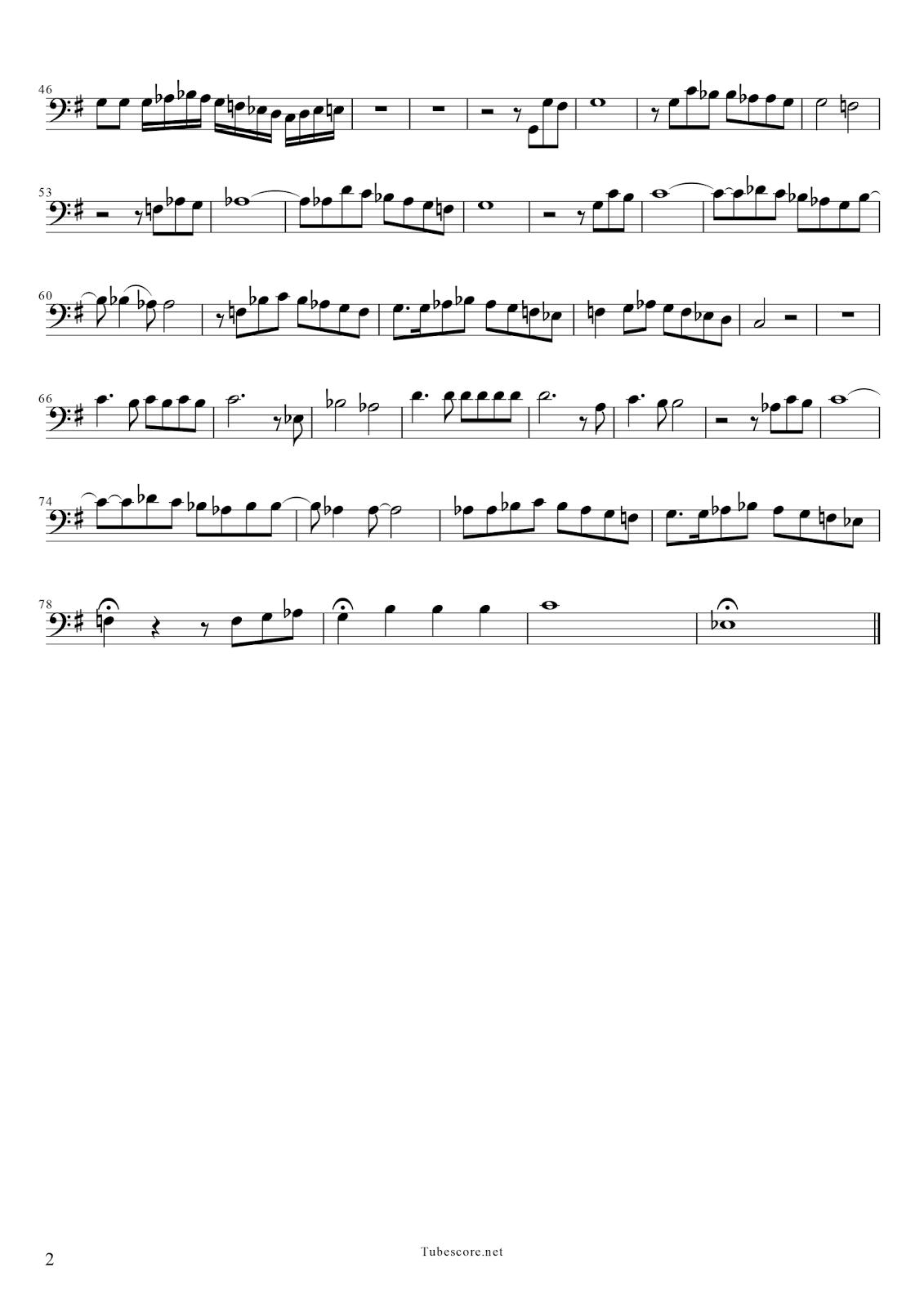 2  Sin un Amor Partitura Clave Fa 2ª Voz Bass Clef