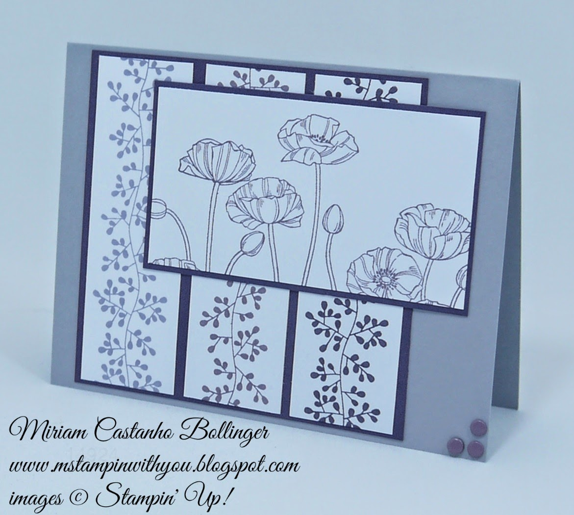 Miriam Castanho Bollinger, mstampinwithyou, stampin up, demonstrator, ppa, pleasant poppies, bordering blooms, su
