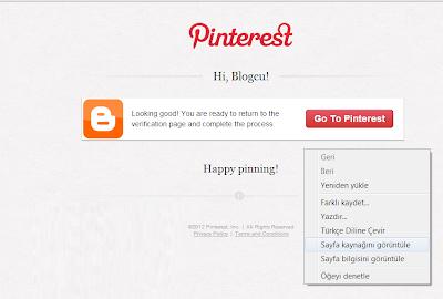 Blogspot Pintereste Eklemek