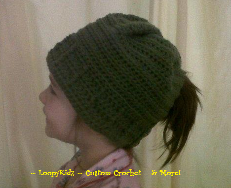 Free Crochet Pattern Ponytail Hat : LoopyKidz: Womens Ponytail Hat Crochet Pattern
