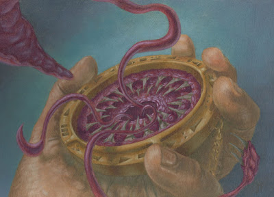 Nevinyrral's Disk Redux; A human hand holds an ancient artifact with teeth and tentacles.