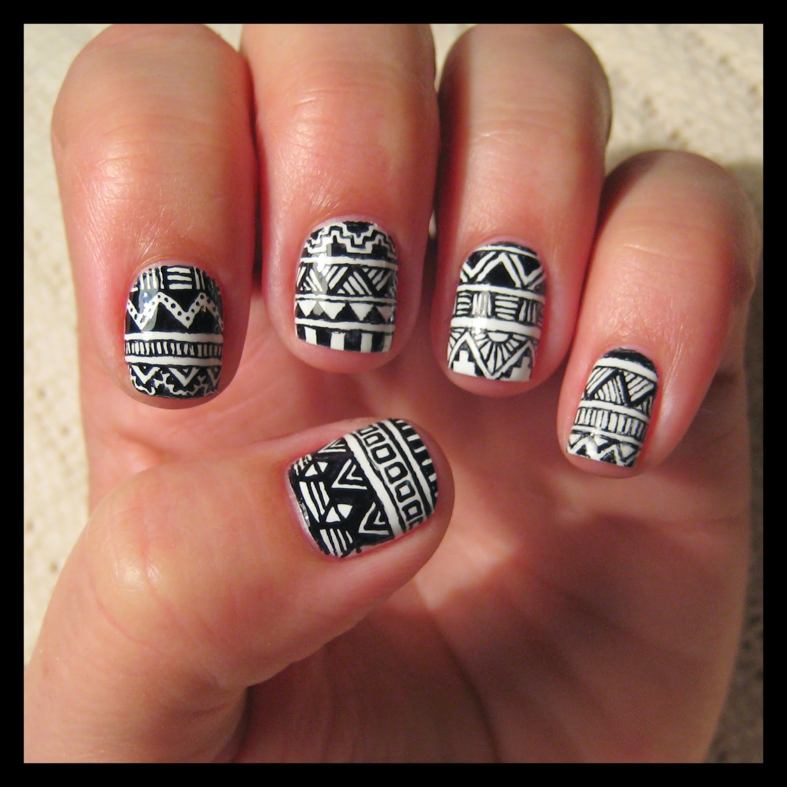 Dahlia nails muji pen aztec i based the design on a ton of different aztec prints and patterns i found on google images i wanted each nail to be different so just took bits and pieces prinsesfo Images