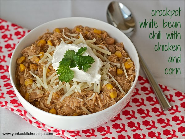 Crockpot white bean chili with chicken and corn
