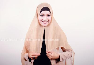 cara memakai jilbab paris polos