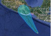 Tropisches Tief 3-E (pot. Hurrikan CARLOTTA) zieht nach Oaxaca, Mexiko, Carlotta, aktuell, Hurrikansaison 2012, 2012, Juni, Pazifische Hurrikansaison, Nordost-Pazifik, Vorhersage Forecast Prognose, Mexiko, Sturmwarnung, Oaxaca,