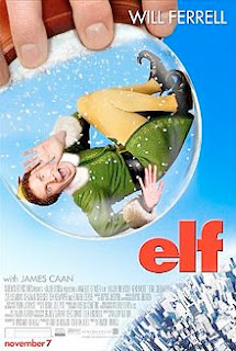 Movie poster showing Buddy elf  insinde a snowglobe
