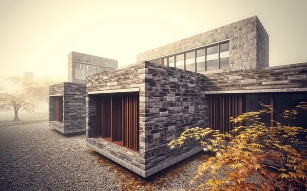 Rumah Modern dengan Dinding Batu Alam
