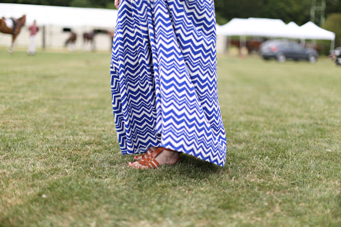 blue white zigzag maxi dress