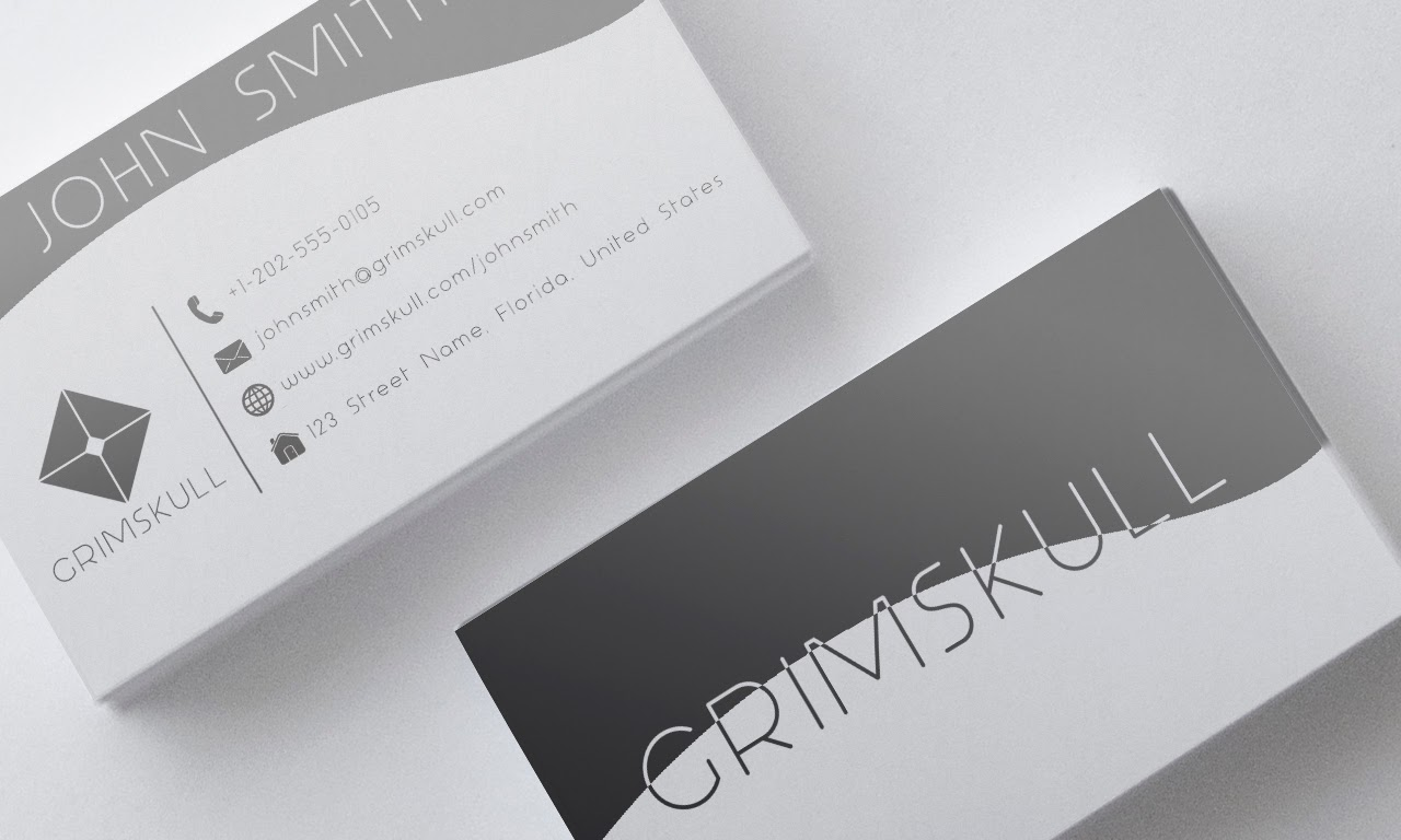 Black White Business Card Template Grimskull Art