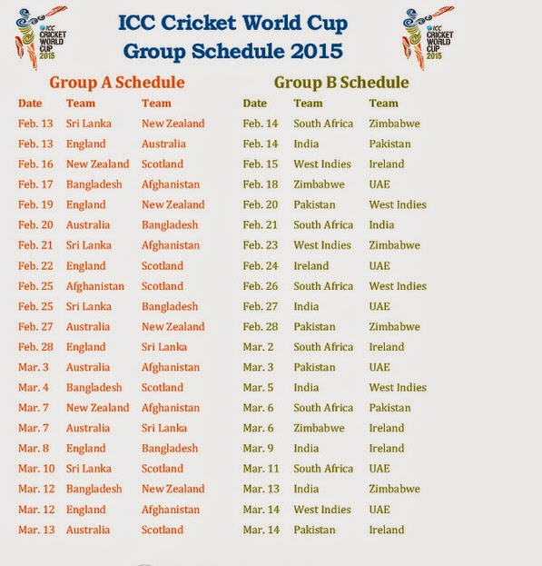 ICC Cricket World Cup 2015 Schedule Group A Matches And Group B ...