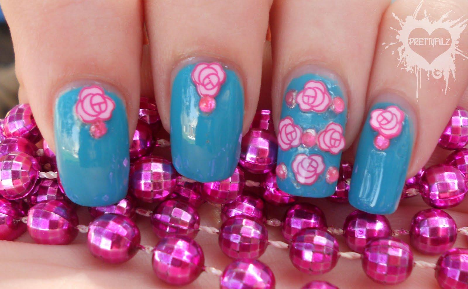 Prettyfulz Pretty Pink Teal Flower Nail Art Design
