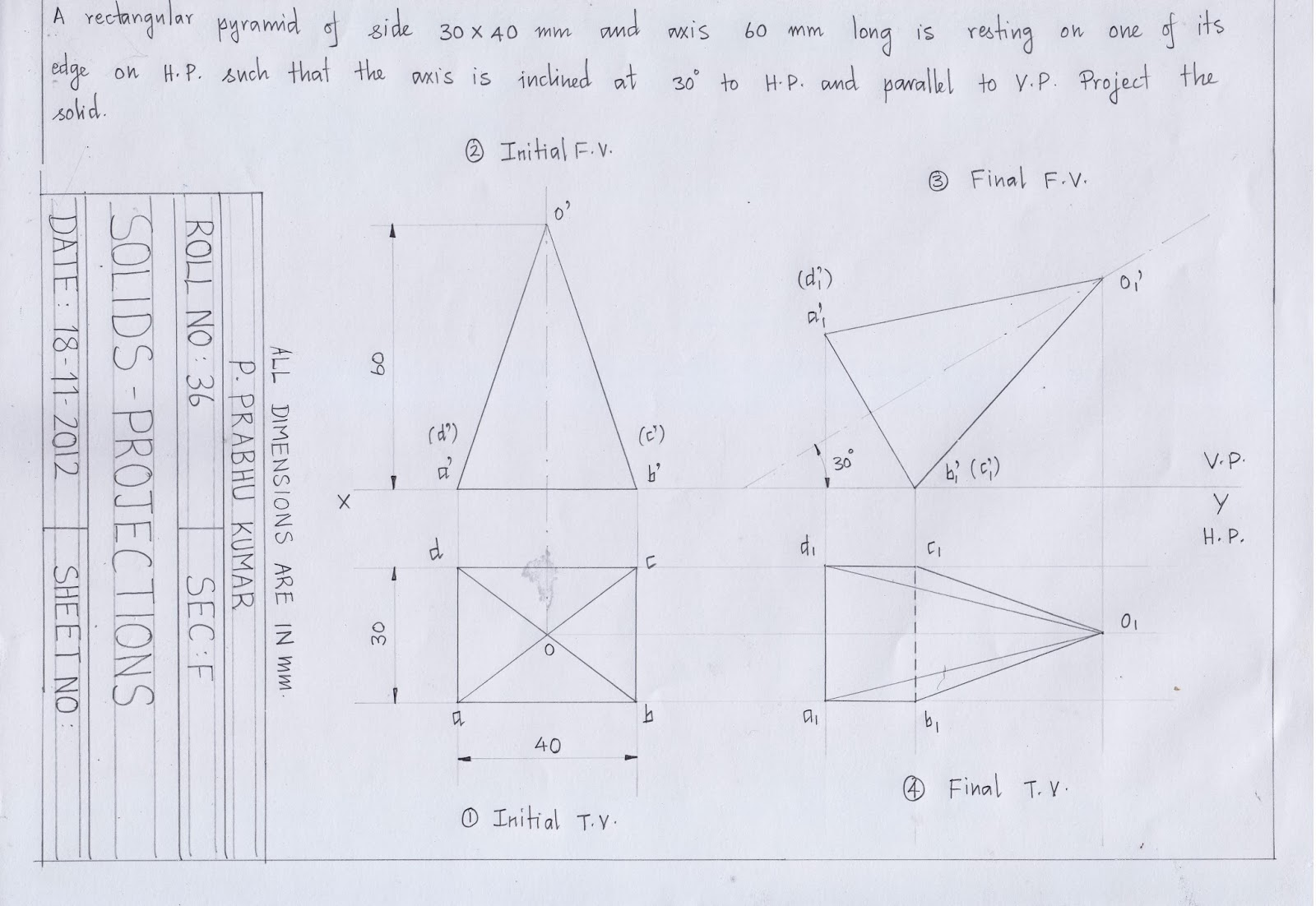 engineering graphics for engineers: projection of solids - triangular pyramid and rectangular ...