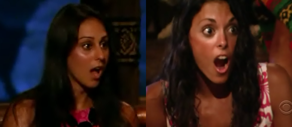"Roberta ""RC"" Saint Amour and Eliza Orlins in tribal council"