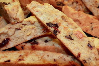 White chocolate, sour cherry and almond biscotti