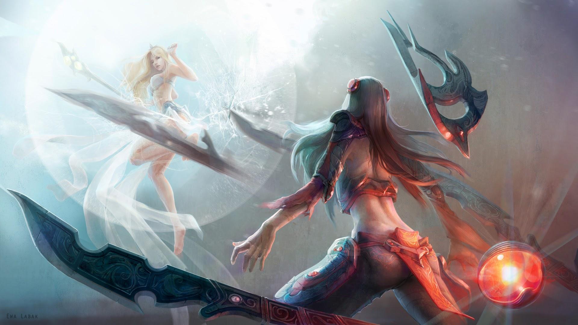 irelia vs janna league of legends 3s wallpaper hd