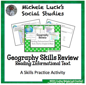 http://www.teacherspayteachers.com/Product/Geography-Skills-Review-Centers-Activity-1252070