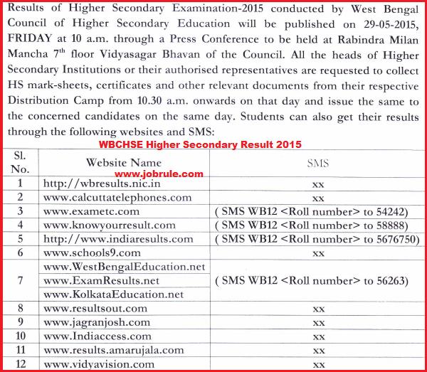 WBCHSE Higher Secondary Examination Result 2015 Notification | পশ্চিমবঙ্গ উচ্চমাধ্যমিক পরীক্ষার ফল ২০১৫
