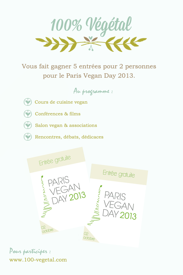 Rendez vous au paris vegan day 5 x 2 entr es gagner for Salon vegan paris
