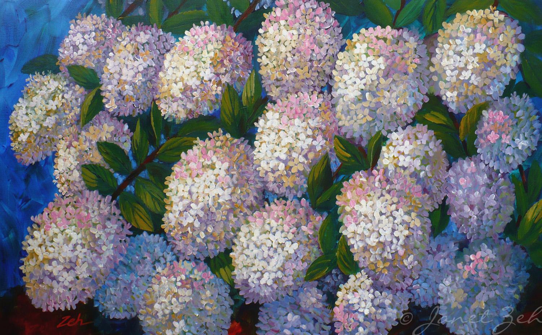 Janet Zeh Original Art Watercolor and Oil Paintings Hydrangea Flowers Origin