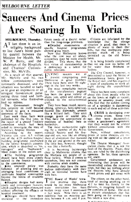 Saucers and Cinema Prices are Soaring in Victoria - Sydney Morning Herald (1-15-1954)