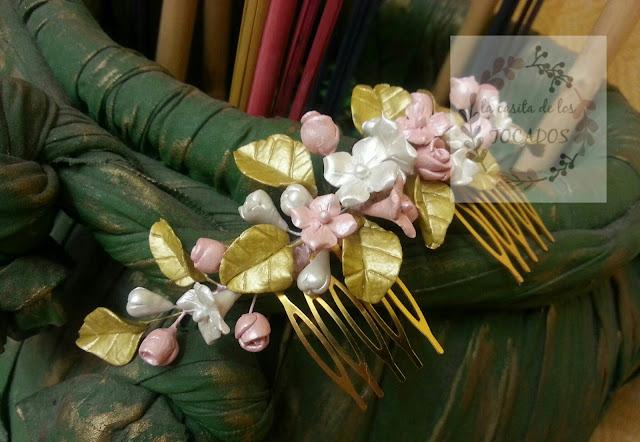 peineta para novia vintage realizada en porcelana fría